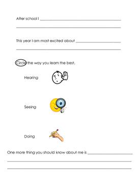 All About Me! Interest Survey