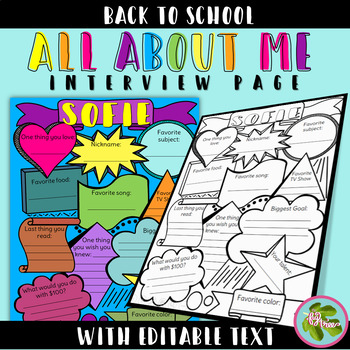 All About Me Interview Coloring Page