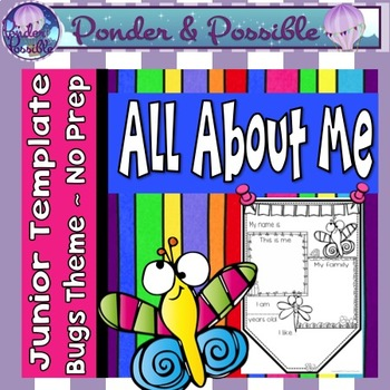 All About Me Junior Bunting -  Bug Theme - Back to School Activity
