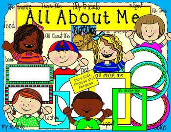 All About Me Kids and Frames Clip Art Kid-E-Clips Commercial Personal