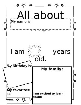 All About Me- Kindergarten Back To School