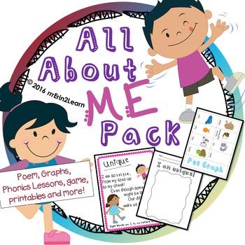 All About Me Kindergarten pack: Unique
