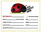 All About Me - Ladybug Theme - Back to School Activity