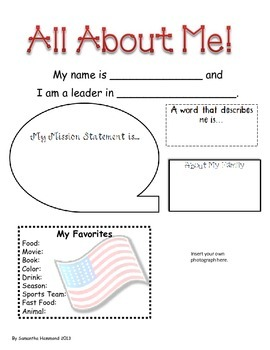 All About Me Leadership Poster Back to School Printable
