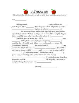 """All About Me Letter"" Get to Know Your Students Activity"