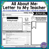 All About Me: Letter to My Teacher Writing Activity and Assessment