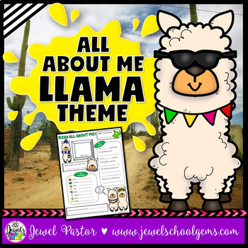 All About Me Llama Theme EDITABLE