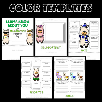 All About Me Llama Theme (Back to School Flip Book)