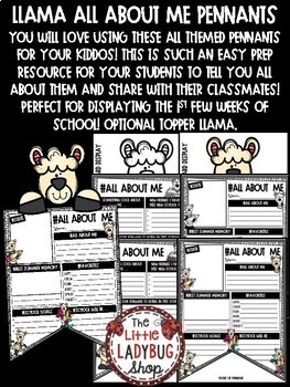 All About Me Llama Theme Back to School Writing First Day of School Activity