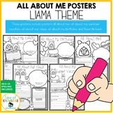 All About Me Llama Themed Posters