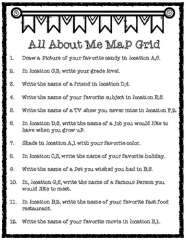 All About Me Map Grid Activity