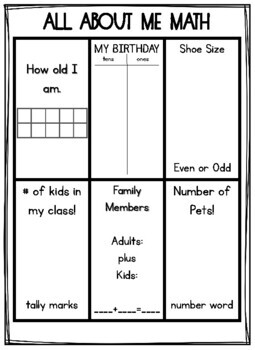 All About Me Math 2nd Grade