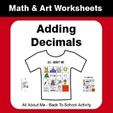 All About Me Math: Adding Decimals {Back To School}