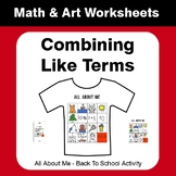 All About Me Math: Combining Like Terms {Back To School}