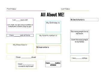 All About Me! (Math Homework Activity)