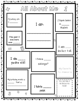 All About Me-Math Posters