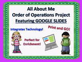 All About Me Math Project Order of Operations Google Classroom Project