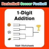 1-digit Addition - Basketball Math, Soccer Math, Football Math