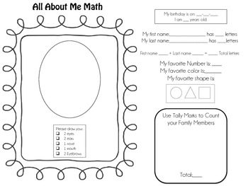 All About Me Math Worksheet