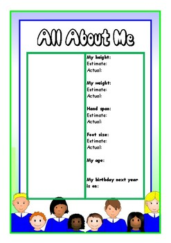 All About Me Measuring Sheet
