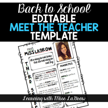 free meet the teacher template - all about me meet the teacher editable template sheet tpt