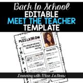 All About Me / Meet the Teacher Editable Template Sheet
