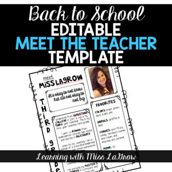 all about me meet the teacher editable template sheet tpt