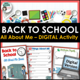 All About Me- Back to School Activity - Digital - Distance Learning