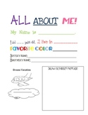 All About Me Middle of the year Poster