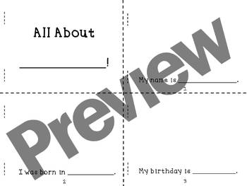 All About Me Mini Book Project, Newcomer ELL Friendly, Editable!