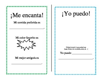 All About Me Mini-Book -- Spanish Language Resource