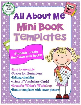 All About Me Mini Books Template - with 4 Sets of Vocabulary Cards!