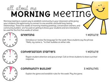 All About Me Morning Meeting Cards
