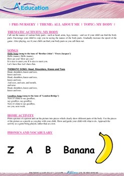 All About Me - My Body : Letter B : Banana - Pre-Nursery (1 year old)