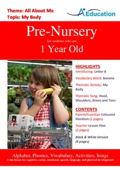 All About Me - My Body : Letter B : Banana - Pre-Nursery (