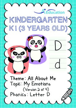 All About Me - My Emotions (II): Letter D - Kindergarten, K1 (3 years old)