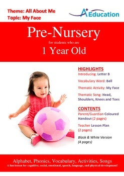 All About Me - My Face : Letter B : Ball - Pre-Nursery (1