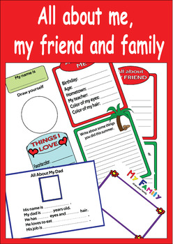All About Me, My Friend and My Family (5 Graphs) Back To School Activities