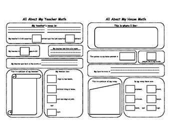 All About Me, My Friends, My School, My Teacher and My House Math Sheets (K-2)