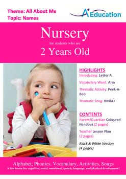 All About Me - My Body : Letter A : Arm - Nursery (2 years old)