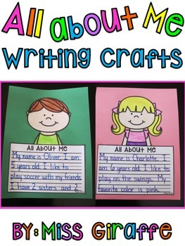 First Week of School All About Me Writing Craft Activities