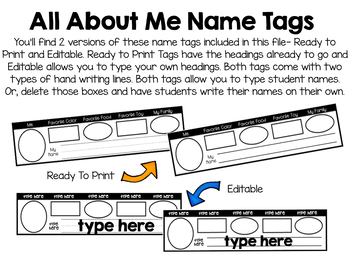 All About Me Name Tags- Editable/Customizable