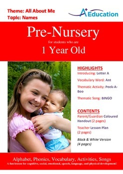 All About Me - Names : Letter A : Ant - Pre-Nursery (1 year old)