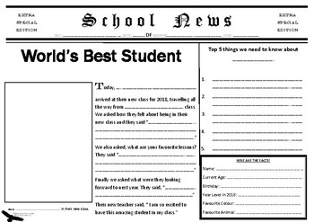 All About Me Newspaper 2018