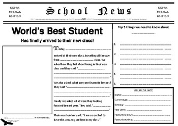 All About Me Newspaper Edition