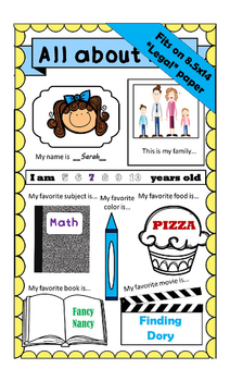 All About Me - Back to School On Legal Sized Paper