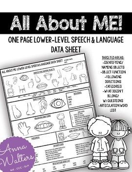 All About Me: One Page Speech and Language Data Sheet