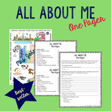 All About Me One Pager- Secondary- Back to School