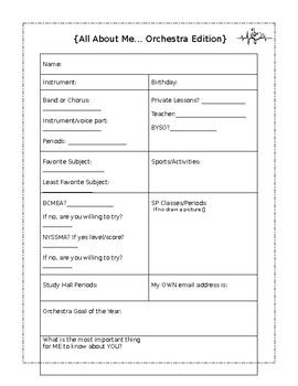 All About Me...Orchestra Edition EDITABLE!