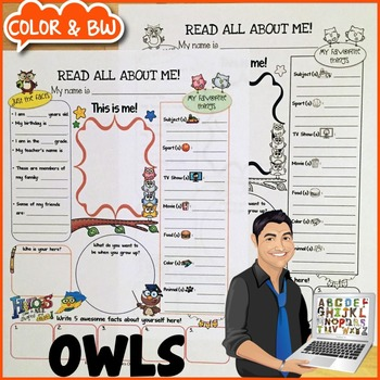 All About Me Owl Themed Printable